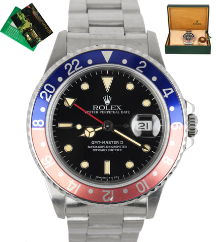 1991 PATINA Rolex GMT-Master II FADED Pepsi Blue Red Stainless Steel 40mm 16710