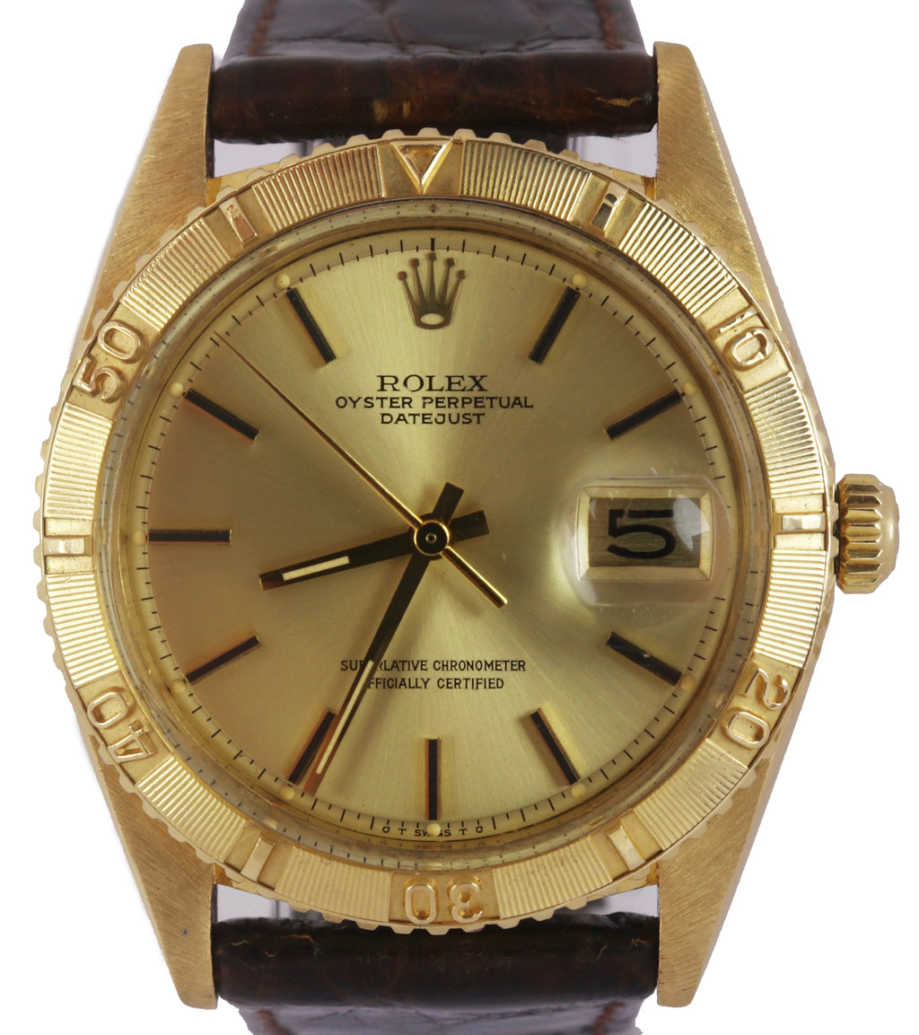 Vintage 1978 Rolex DateJust 1625 Turn-O-Graph 36mm Gold Thunderbird Date Watch