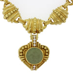 $28000 Judith Ripka Estate 18k Gold Lava .24ctw Diamond Pendant Choker Necklace