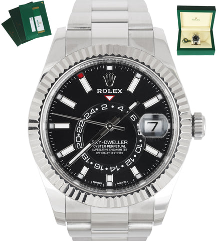MINT 2019 Rolex Sky-Dweller Stainless Black 18K White Gold Silver 326934 42mm