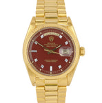Rolex Day-Date President 36mm Burgundy Diamond STELLA 18K Yellow Gold Watch 1803