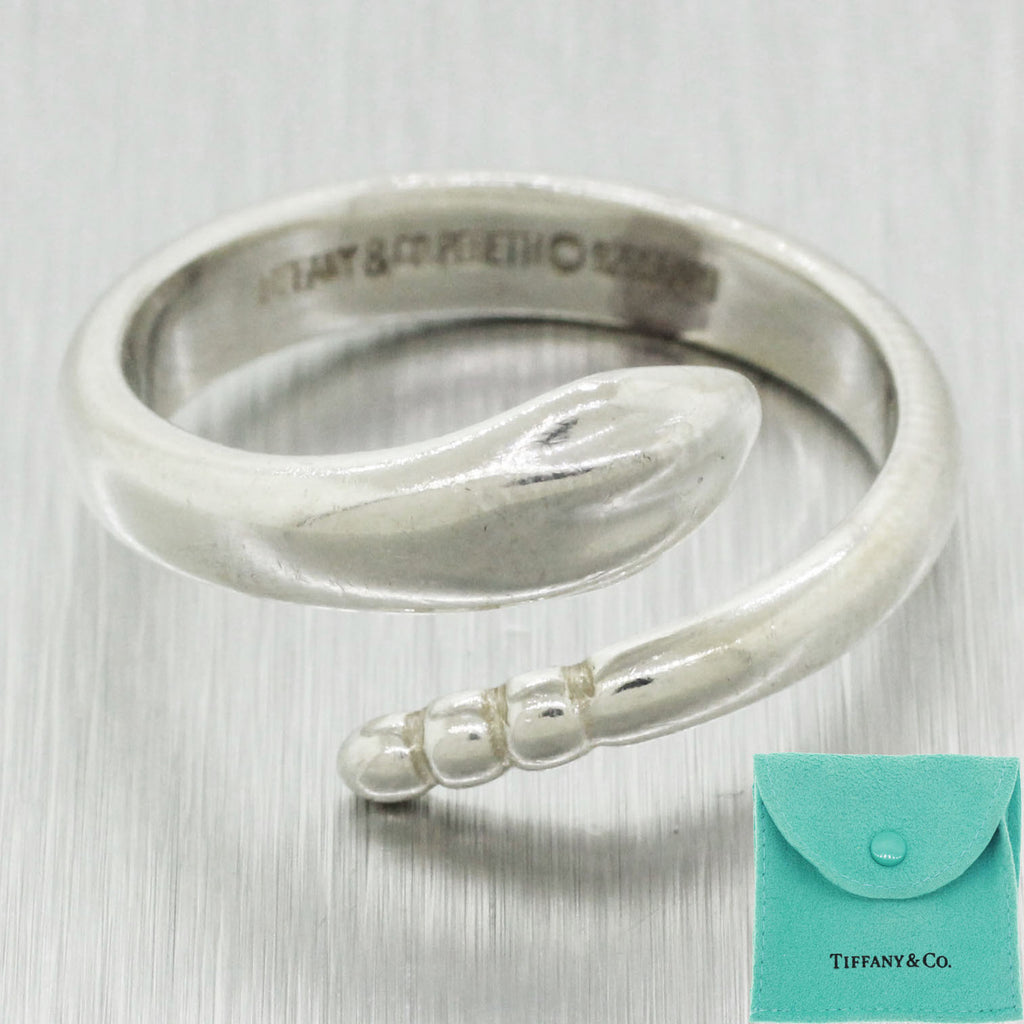 Tiffany & Co. Elsa Peretti Sterling Silver Size 7 Snake Ring w/ Pouch
