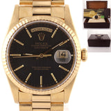 UNPOLISHED Rolex Day-Date President 18k Gold Quickset Black Tapestry 18238 Watch D8
