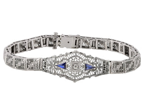 1930s Art Deco 14K White Gold 0.04 CT Diamond Sapphire Floral Filigree Bracelet