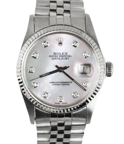 MINT Rolex DateJust 16014 MOP Diamond 36mm 18k Gold Stainless Silver Jubilee