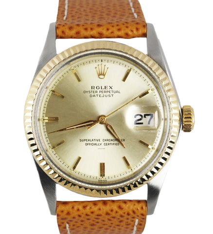 Vintage 1964 Rolex DateJust Underline 1601 36mm 14K Gold Fluted 36mm Silver