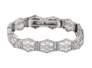1930's Ladies Antique Art Deco 14K White Gold 0.09ctw Diamond Filigree Bracelet