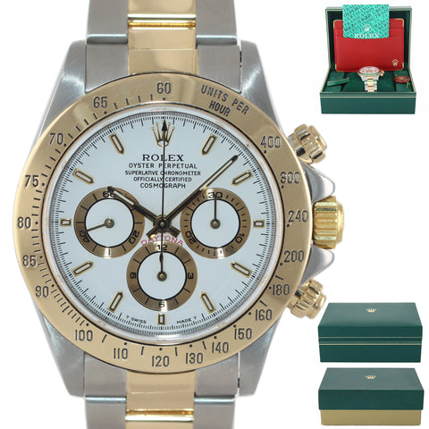 MINT Rolex Daytona 16523 Zenith Two Tone 18 Yellow Gold White Tritium Dial