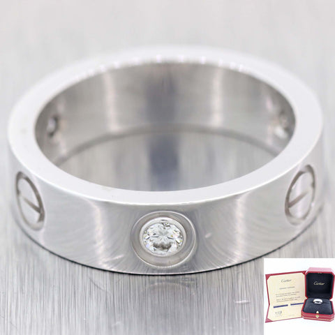 Cartier Solid 18k White Gold 3 Diamond .22ctw 5mm Wedding Band Ring $3750 D8