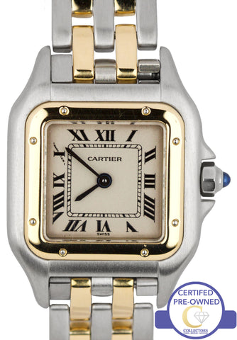 Ladies Cartier Panthere Two-Tone Gold Steel Two Row Ivory 22mm Quartz Watch 1120