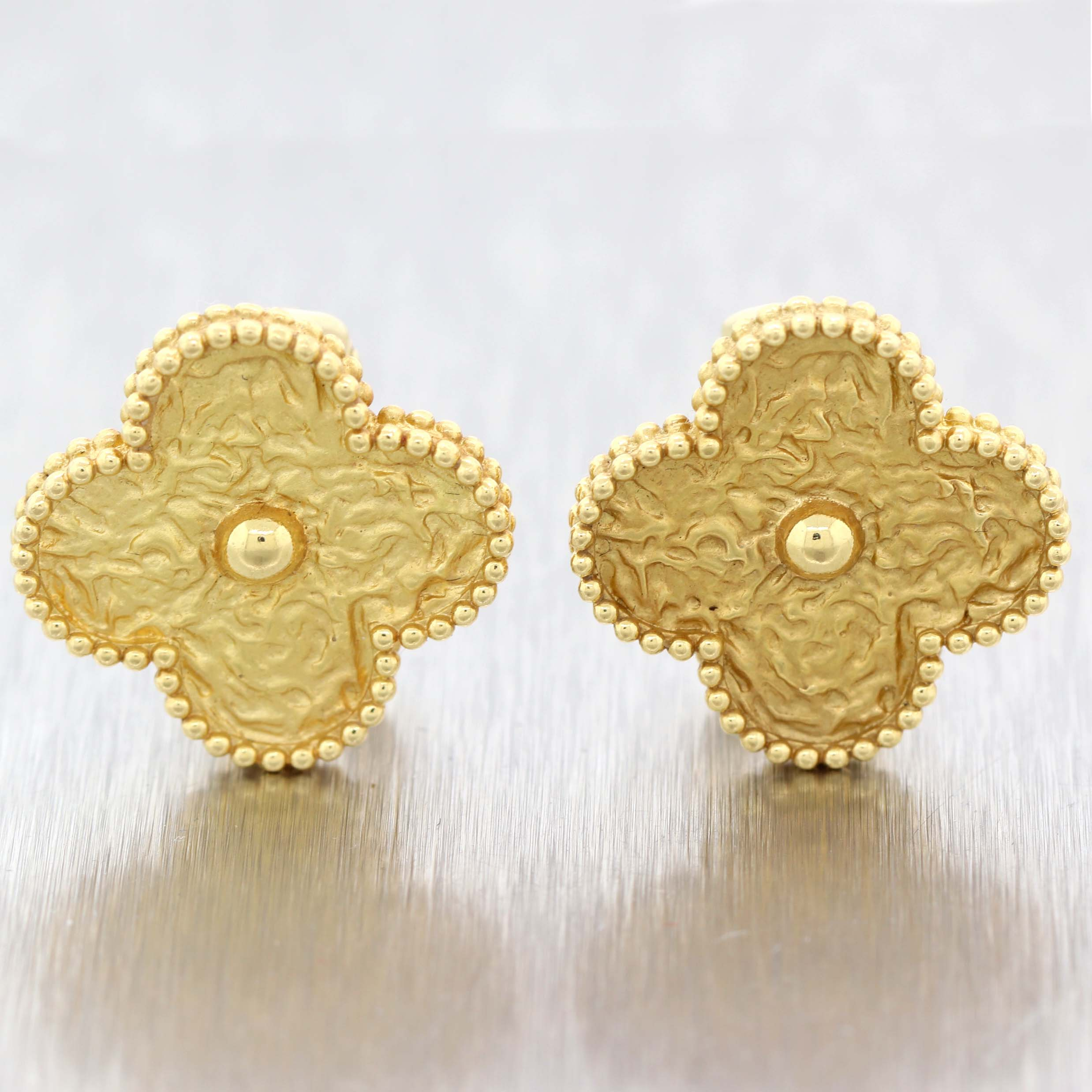 Van Cleef & Arpels 18k Yellow Gold Magic Alhambra Rare Jumbo Motif Earrings D8