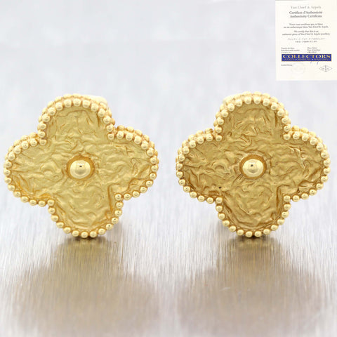 Van Cleef & Arpels 18k Yellow Gold Magic Alhambra 17mm Jumbo Motif Earrings D8