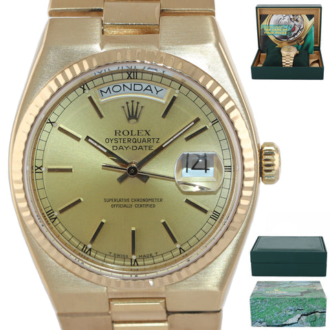 Rolex OysterQuartz Day Date President 19018 Solid 18k Yellow Gold Champagne Watc