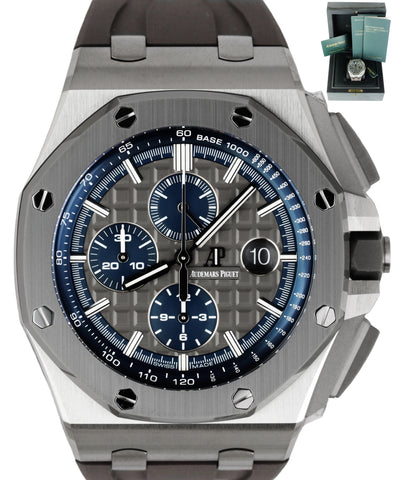 NEW Audemars Piguet AP Royal Oak Offshore Blue 44mm Titanium Grey Watch 26400IO