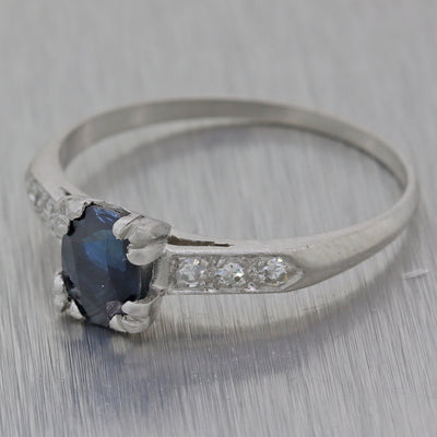 1930s Antique Art Deco Platinum 1.00ctw Natural Sapphire Engagement Ring Y8