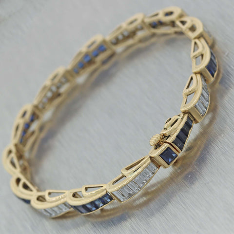 Vintage Estate 18K Yellow Gold 6ctw Diamond Tapered Baguette 6ctw Sapphire Bracelet