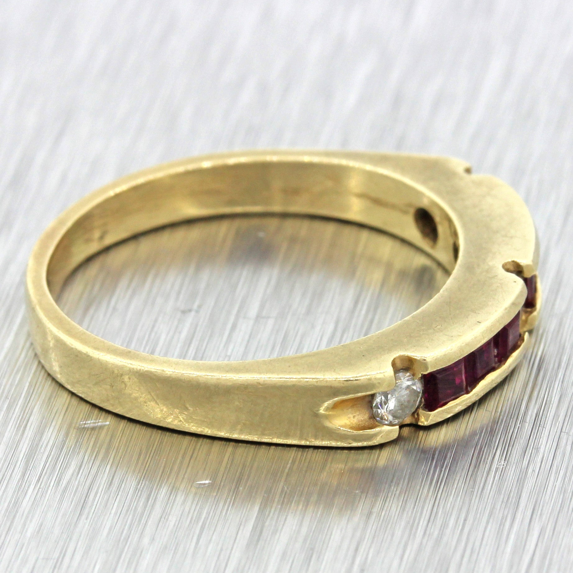 1980s Vintage Estate 14k Solid Yellow Gold .15ctw Diamond .45ctw Ruby Band Ring