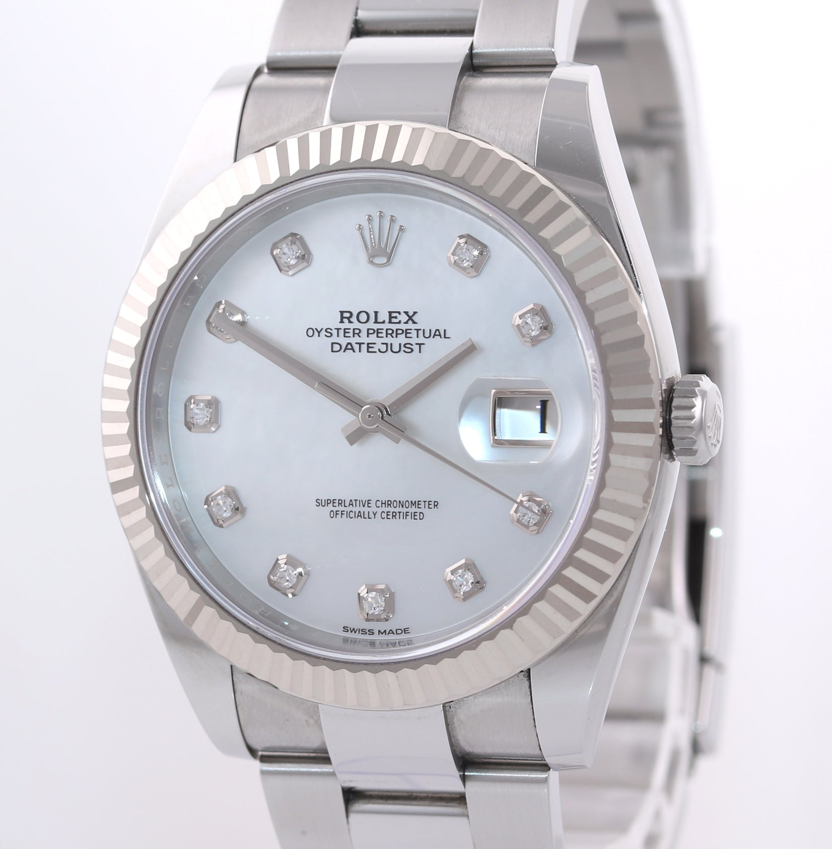 2017 PAPERS Rolex DateJust 41 MOP Mother of Pearl Diamond Fluted 126334 Watch