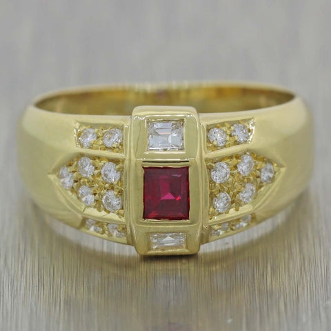 Vintage Estate 18K Yellow Gold Geometric 0.40ct Diamond 0.20ct Ruby Band Ring