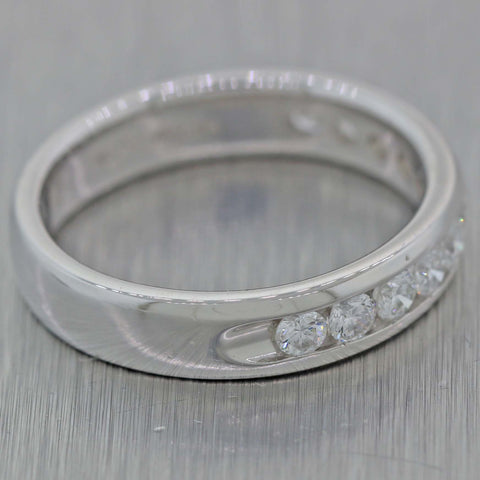 Vintage Estate Platinum Diamond Round Cut Channel Set Wedding Band Ring