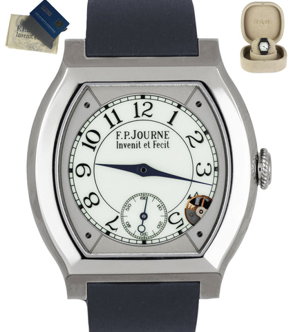 NEW F.P. Journe Elegante Titanium 40mm White Blue Strap Electromechanical Watch