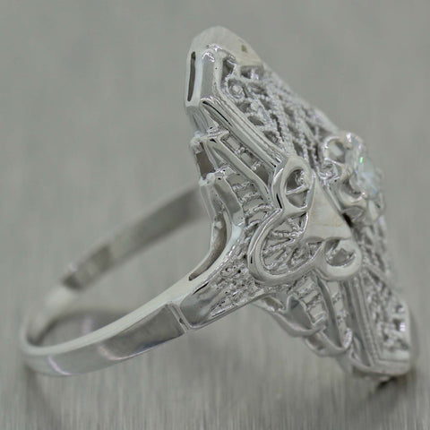 1930's Antique Art Deco 14K White Gold Diamond Filigree Ring