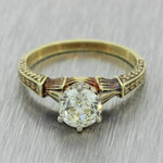 1880 Antique Victorian 14k Gold .36ct Old Cut Diamond Engagement Ring EGL $8260