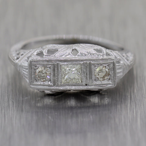 1920's Antique Art Deco 14k White Gold 0.27ctw Diamond Band Ring