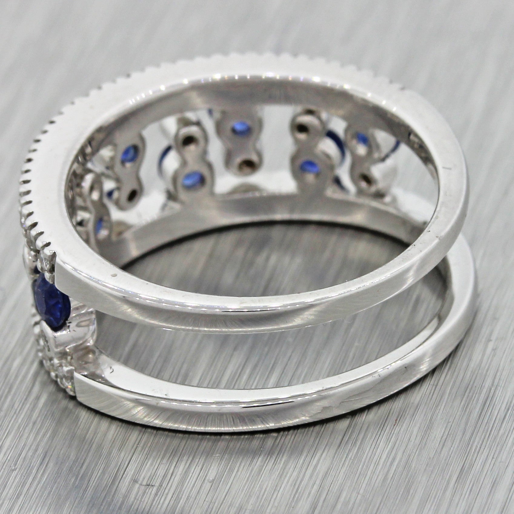 Modern Estate 14k Solid White Gold .25ctw Diamond .45ctw Blue Sapphire Band Ring