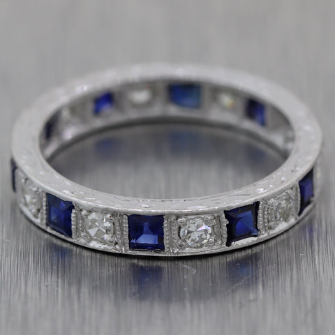 1950s Vintage 9ct White Gold 1ctw Sapphire & Diamond Engraved Wedding Band Ring