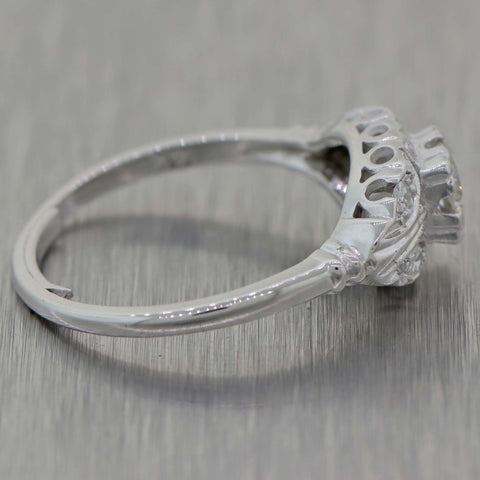 1930's Antique Art Deco 14K White Gold 0.43ctw Diamond Filigree Engagement Ring