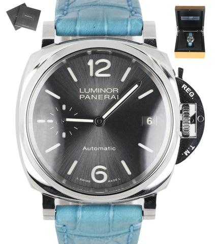 #1/2000 MINT Panerai Luminor Due PAM00755 38mm PAM 755 Stainless Gray Blue Watch
