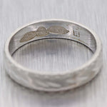 Vintage Estate Platinum 4mm Wide Japanese Engraved Wedding Band Ring D8
