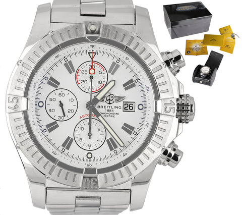 MINT 2011 Breitling Super Avenger Chronograph White Steel A13370 48mm Watch