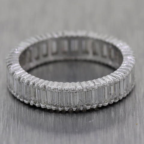 1950's Vintage Platinum 2.50ctw Straight Baguette Diamond Wedding Band Ring