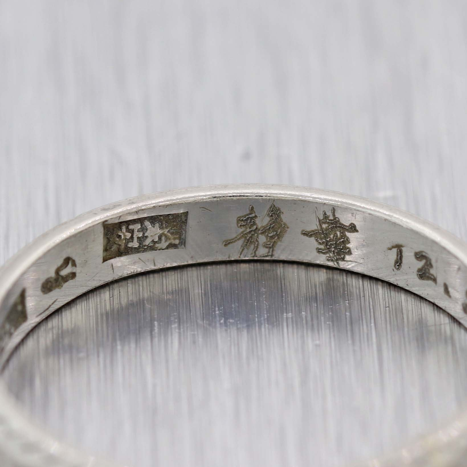 Vintage Estate Platinum 3mm Wide Japanese Hand Engraved Wedding Band Ring D8