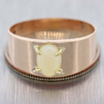 Antique Victorian Solid 8ct Rose Gold 8mm Fire Opal Mens Band Ring US 10.25 D8