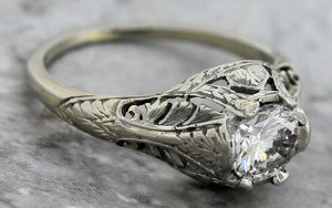 $8,470 Art Deco 1920s Floral 18K Gold 0.83ct Diamond Engagement Ring EGL USA