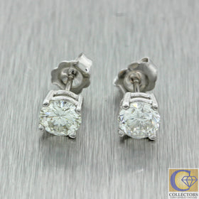 Estate 14k Solid White Gold 1.45ctw Round Brilliant Cut Diamond Stud Earrings