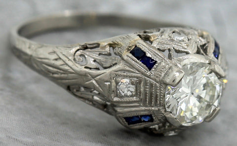 Art Deco Filigree Platinum 0.80ctw Diamond Sapphire Engagement Ring EGL USA