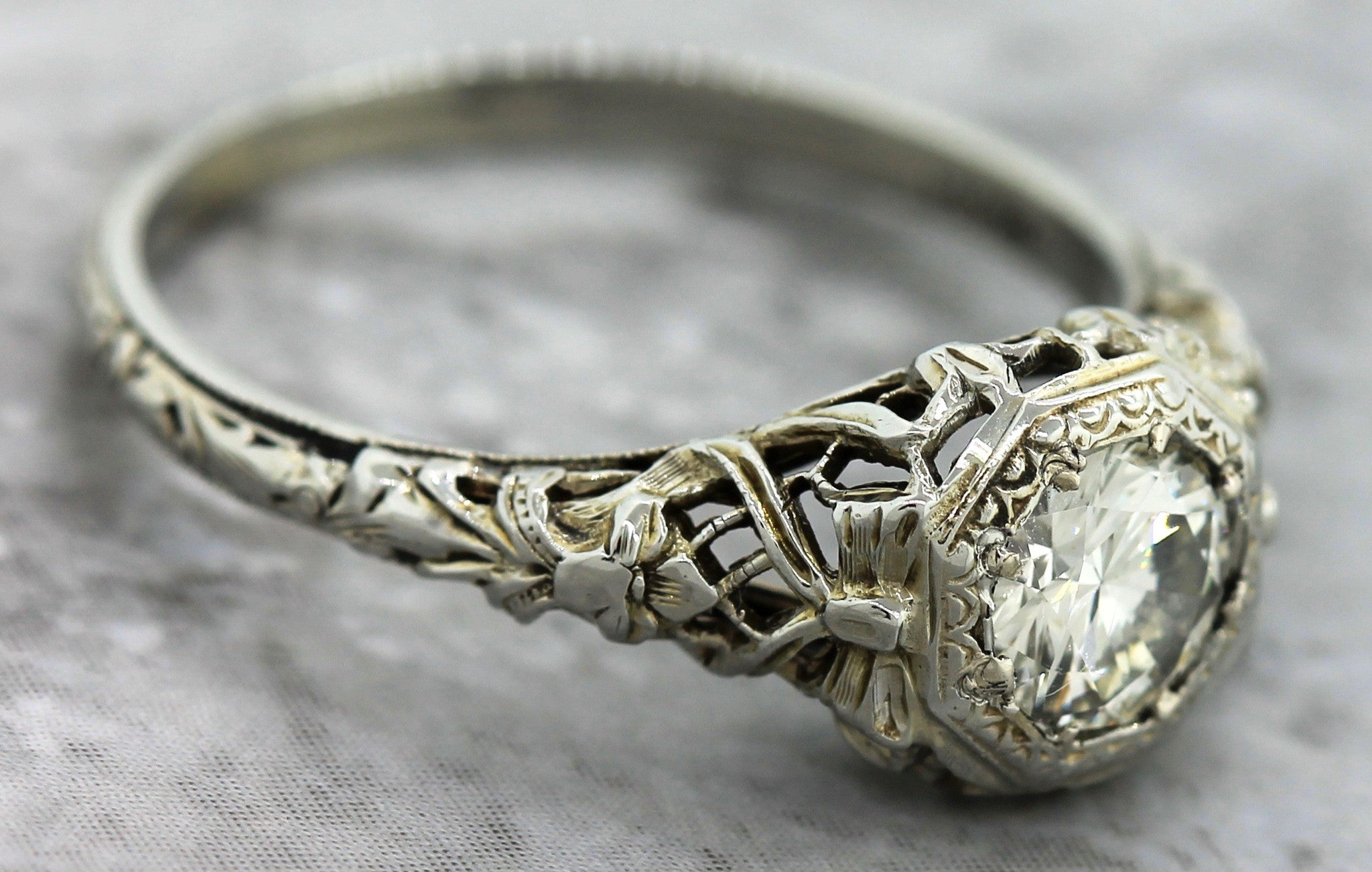 $4,600 Art Deco 1920s Floral 18K Gold 0.67ct Diamond Engagement Ring EGL USA