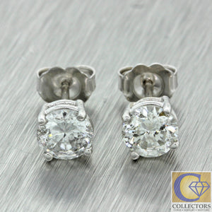 Estate 14k Solid White Gold 1.55ctw Round Brilliant Cut Diamond Stud Earrings