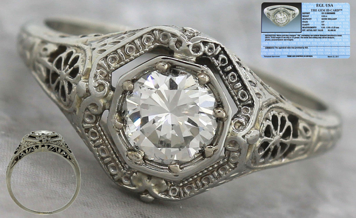 $5,460 Art Deco 1920s Floral 18K Gold 0.64ct Diamond Engagement Ring EGL USA