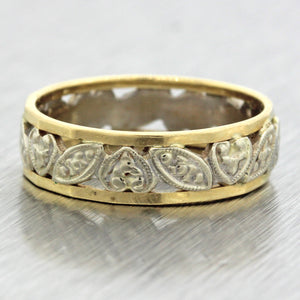 1930s Antique Art Deco 14k Yellow White Gold Filigree Carved Heart Band Ring