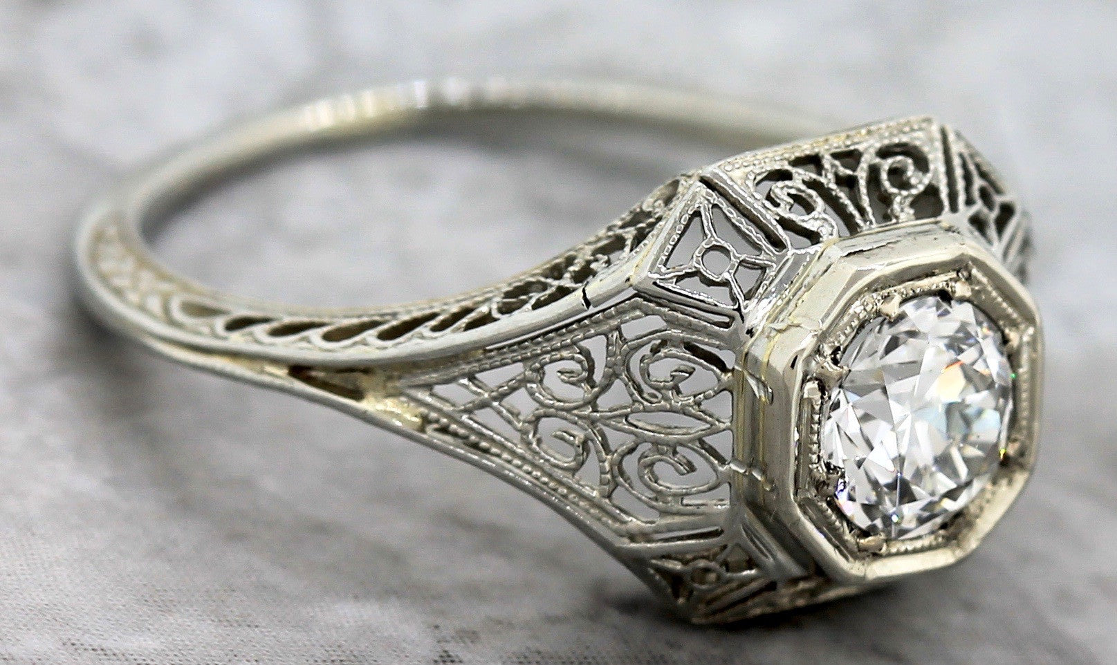 $6,010 Art Deco 1920s Filigree 18K Gold 0.70ct Diamond Engagement Ring EGL USA