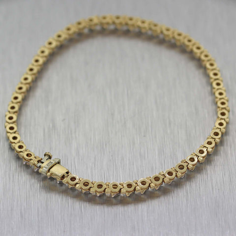 Vintage Estate Solid 14K Yellow Gold 1.00ctw Diamond 3mm Tennis Bracelet D8