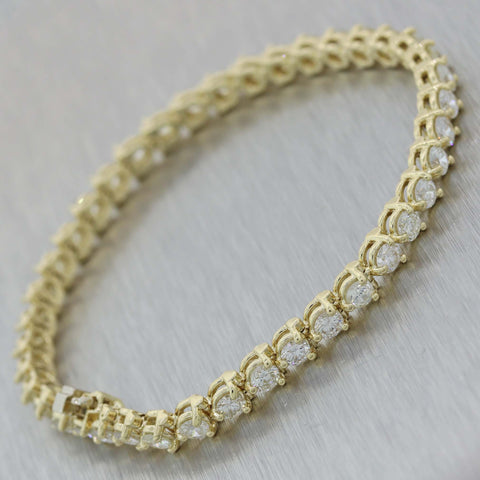 Vintage Estate 14k Yellow Gold 6.1ctw Diamond Tennis Bracelet