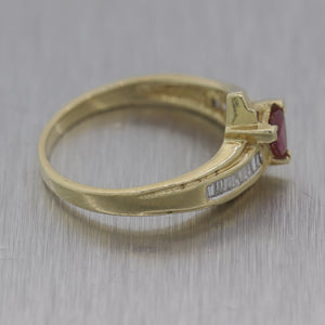 1980's Vintage Estate 14k Yellow Gold 0.60ctw Ruby & Diamond Ring