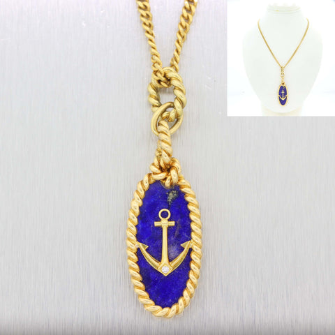 Vintage Van Cleef & Arpels 18k Yellow Gold Lapis Diamond Anchor Pendant Necklace D8