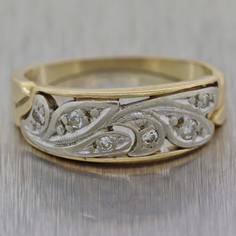 1920's Antique Art Deco 14k Yellow Gold Filigree Diamond Band